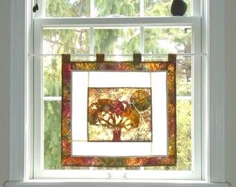 Indian Summer  ~ Bleached Art Stained Glass Look Pojagi Batik Window Treatment  / bohemian cafe / dorm curtain / boudoir curtain