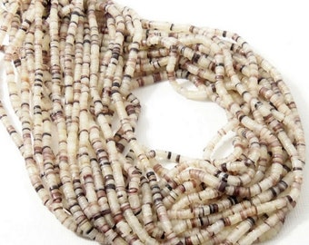Hammer Oyster Shell, Heishi, 2mm - 3mm, White, Black, Dark Red, Thin Beads, Small, Multi Colored, Extra Long 24 Inch Strand - ID 2086