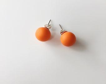 Orange Stud Earrings, Round Earrings, Geometric Earrings, Chunky Earrings, Minimalist Earrings, Polymer Clay, Stud Earrings, Boho Earrings