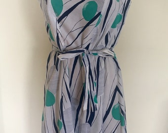 Vintage Day Dress with teal and blue geo print