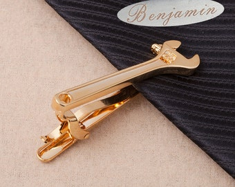 unique personalized wrench tie clip custom monogram personalized stainless steel tie clip