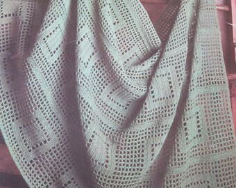 Crochet Pattern - Filet Afghan - Vintage