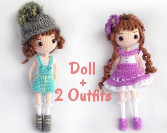 Crochet Doll Pattern / Amigurumi Doll Pattern / Mimi - Doll with 2 outfits / PDF Crochet Doll Pattern / Instant Download