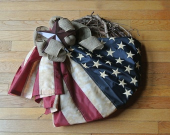Primitive Teastained Flag Wreath