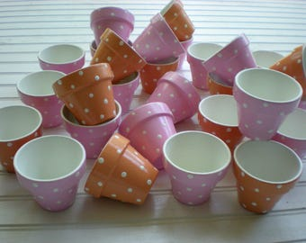 Baby Shower Favors - Wedding Favors - Painted Flower Pots - Set of 50 - Small Flower Pots - Polka Dots - Tea Favors