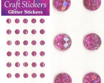 Fuchsia Pink Self Adhesive Glitter Stickers Faceted Gems 4mm or 8mm Craft Embellishments