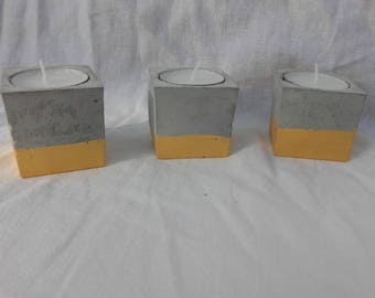 Concrete cube candle holder gold