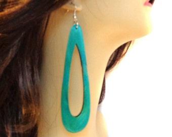 BOHEMIAN EARRINGS Long Earrings Open Hoop Wood Earrings Blue Earrings Lightweight 5.5 inch long