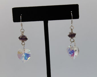 Wire-wrapped Amethyst and Crystal Heart Earrings, One of a Kind