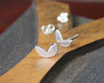 Tiny Leaf Sterling Post Earrings- Free Shipping