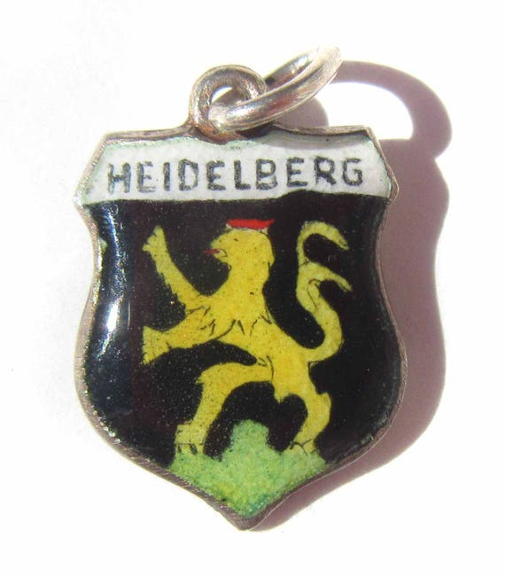 Heidelberg Germany Charm, Enamel Shield Charm, Deutschland Souvenir, Sterling Silver 925 Silver Charm, Coat of Arms