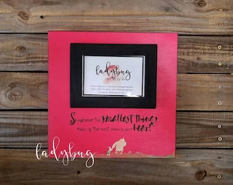 """Sometimes the smallest things take up the most room in your Heart"""".12x12 board size. Room decor. Nursery decor.  by Ladybug Design by Eu."""