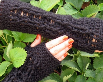 Soft Black Cabled Fingerless Gloves Crochet Black Arm Warmers Women's Hand Warmers Wrist Warmers SalutationsCrochet