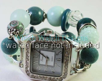 Minteal.. Stunning Mint Green, Teal and Silver Interchangeable Beaded Watch Band