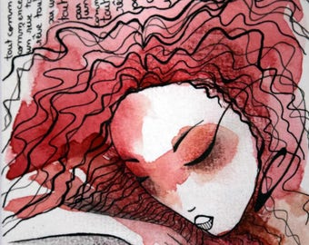 """Illustration ink and watercolor drawing """"sleeping 3"""""""