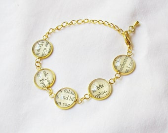 Jane Eyre Bracelet Gold Charlotte Bronte - Mr Rochester Literature Text Jewelry For Women - Jewellery Accessories Bookworm Gift Adjustable