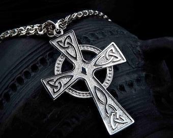 Large Celtic Cross Necklace. Solar Druid Sterling silver talisman. Irish pendant. Pagan amulet. Irish pendant