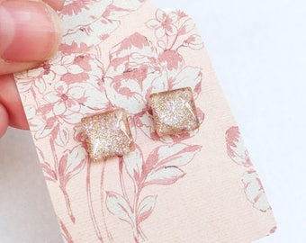 Blush pink and lavender glitter studs, 12mm, hypoallergenic, square shaped, glass dome, earrings by Jules Jewelry Box