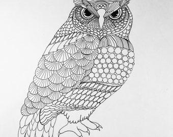 Zentangle Owl owl art  bird art Zentangle bird Zentangle art wall art black white art pen and ink art bird illustration owl illustration