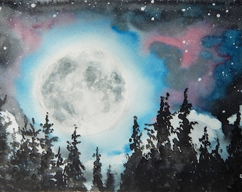 Full Moon landscape Night sky painting Astronomy art Watercolor painting Original artwork Home decor Wall art
