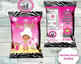 custom spa themed chip bags- custom spa party -printed or digital - spa girl can be changed to a different one- matching favors aval.