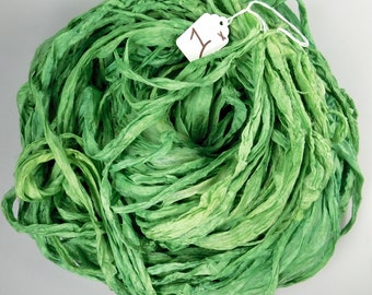 Silk Sari Ribbon, Sari silk ribbon, recycled ribbon, green sari ribbon, silk ribbon, rug supply, knitting supply, apple green sari ribbon