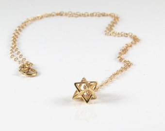 Gold merkaba necklace ,small gold filled merkaba , 3D david star necklace, silver nerkaba , kabala jewelry ,Jewish jewelry , bat mitzva gift