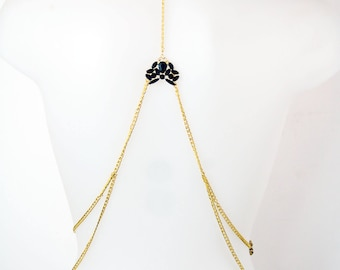 NEW simple bone body chain sheep ribs hand painted in black and gold with broken crystal beaded jewelry