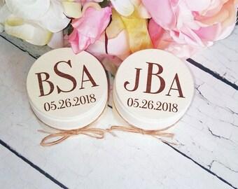 Custom Wedding Ring Boxes, Set of Two, Wooden Ring Box, Wedding Gift, Ring Bearer Box, Engraved Wooden Box, Custom Wedding Monogram   Lace