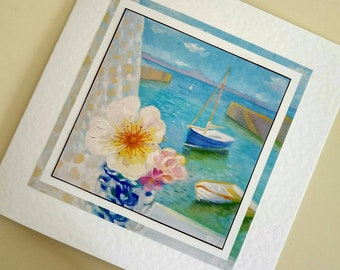 Blank card from original painting Harbour View and Roses by Bee Skelton for any occasion birthday gift anniversary thank you