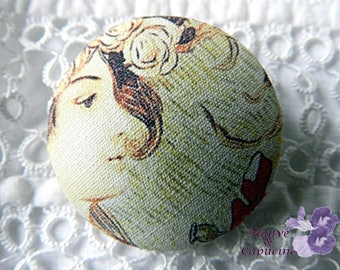 Button printed fabric woman, 1.25 in / 32 mm