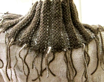 Double Fringe Reversible Ripple Scarf in Cocoa and Cream OOAK