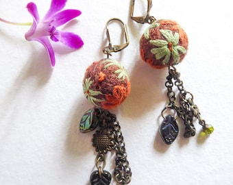 Earrings in woolen pearls felted embroidered and metal drops bronze, gypsy Enchantment