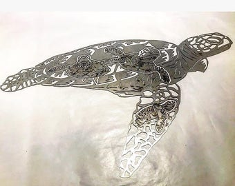 Metal Sea Turtle, Sea Turtle, Metal wall art, Metal wall art, Turtle decor, Turtle art, yard art, under the sea art, ocean art, beach art,
