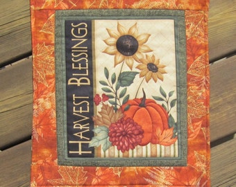 Fall Autumn Harvest Blessings Straw Flowers and Pumpkins Wall Quilt or Table Topper Quiltsy Handmade