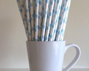 Blue Paper Straws Light Blue Polka Dot Straws Party Supplies Decor Bar Cart Cake Pop Sticks Mason Jar Straws  Party Graduation