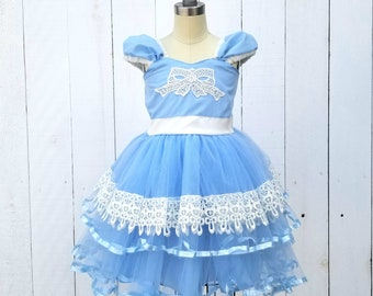 ALICE IN WONDERLAND dress, Alice in Wonderland costume, baby 1st  birthday dress, baby dress for girls, tulle flower girl dress, blue dress