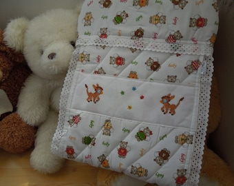 Diaper holder , Hand cross-stitch embroidery. Donkeys embroidered by hand on a handmade diaper, for hunging. 100% handmade.