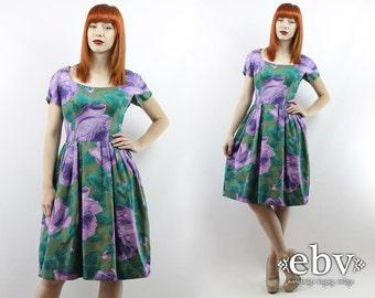 Vintage 1950s Dress Vintage 50s Dress Vintage 50s PURPLE ROSES Dress S M 50s Party Dress Roses Dress Madmen Dress Summer Dress 50s Tea Dress
