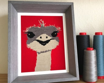 Ostrich Knit Illustration 8x10 Textile Wall Art - Red