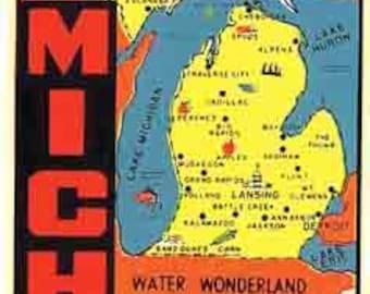Vintage Style Water Wonderland Great Lakes  Michigan  1950's   Travel Decal sticker