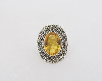 Vintage Sterling Silver Natural Citrine Ring Size 7.25