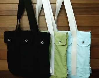 Corduroy Tote, Flap closure, Tote Bag, Shoulder Bag, Cotton Shell and Lining, Metallic Hardware, Inside Pocket