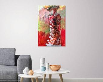 Sachi Japanese Girl, abstract figurative art, blessed art, abstract wall art, japanese abstract art, figurative art form