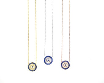 Elegant Evil Eye Necklace-Silver