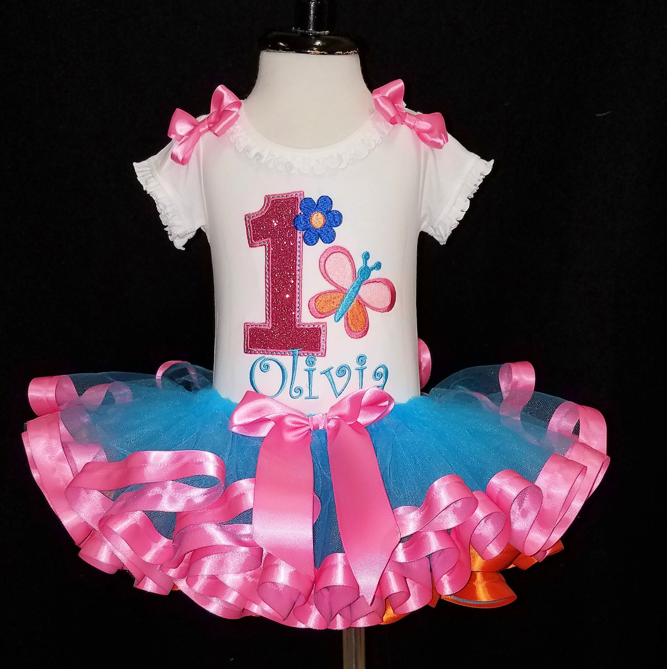 1st Birthday Girl Outfit Butterfly Set Baby Party First Tutu Dress Clothing