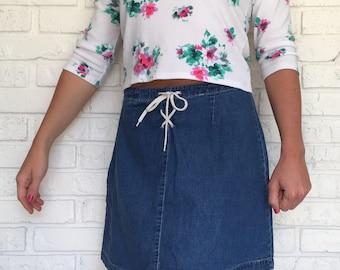 Womens Vintage 1990s Denim Jean Skirt