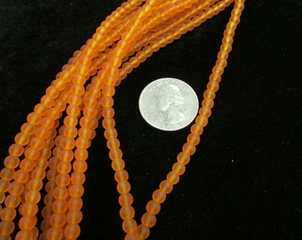 4mm Sea Glass Rounds 8-inch strand (Tangerine)
