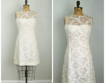 Vintage 1960's White Lace Overlay Dress// Size Small/Medium// Bridal