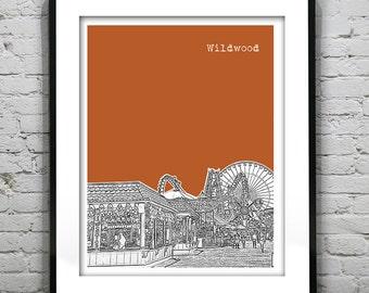 Wildwood New Jersey Shore Poster Print Art NJ Skyline Jersey Shore Version 3